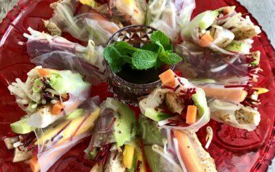 Spring rolls met garnalen, kip of vega