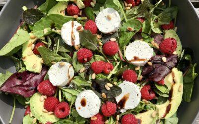 Frambozen-geitenkaas salade