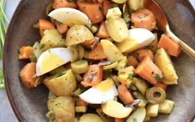 Aardappel salade met ansjovis en olijven