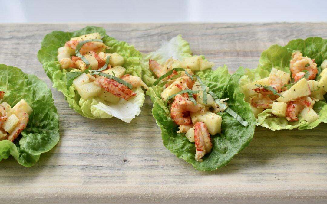 Salade rivierkreeftjes appel koolrabi