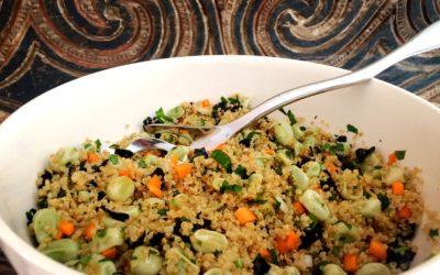 Oosterse Quinoa met tuinerwten en nori