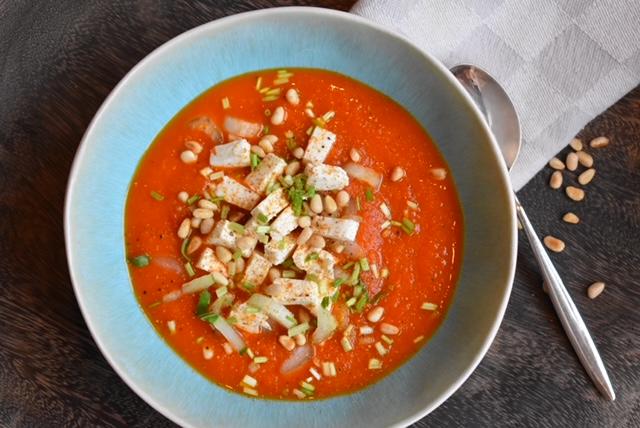 Geroosterde paprika soep met feta
