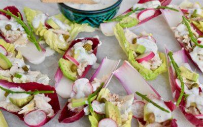 Makreel met avocado en roodlof